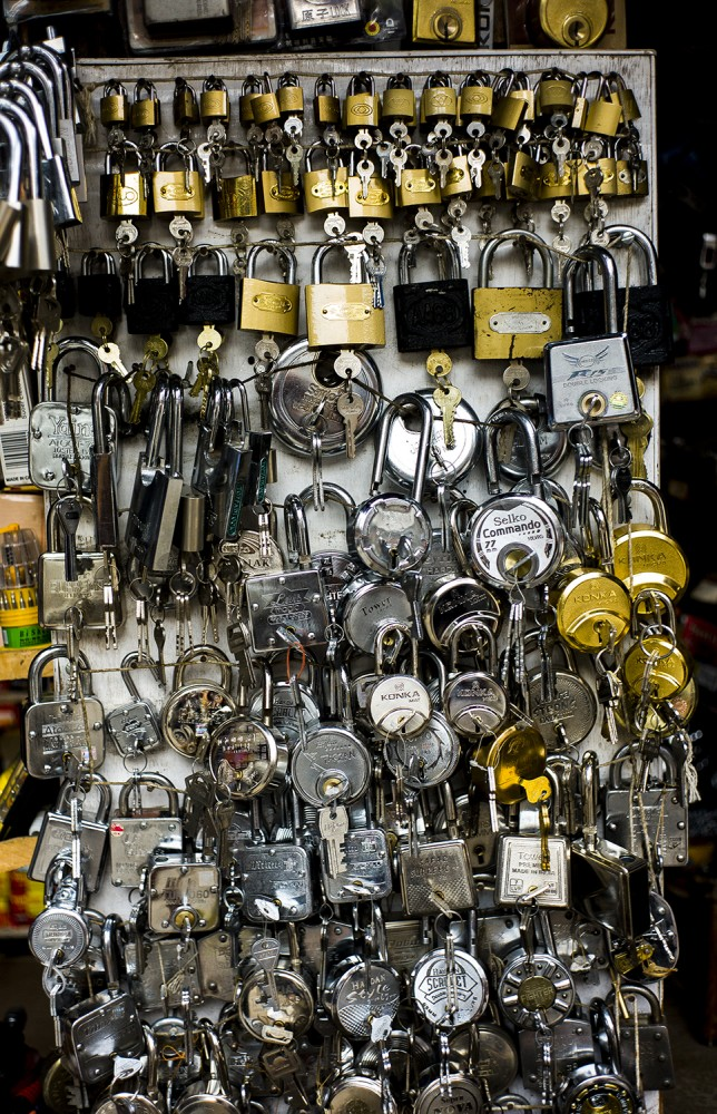 Locks for sale at a hardware store
