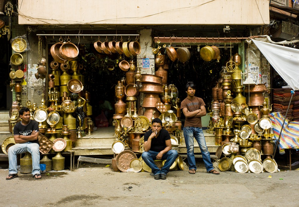 A copper wares vendor