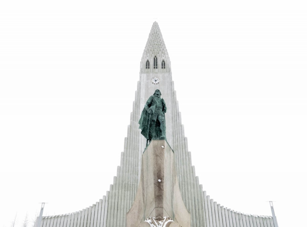 Hallgrímskirkja Church on a snowy day