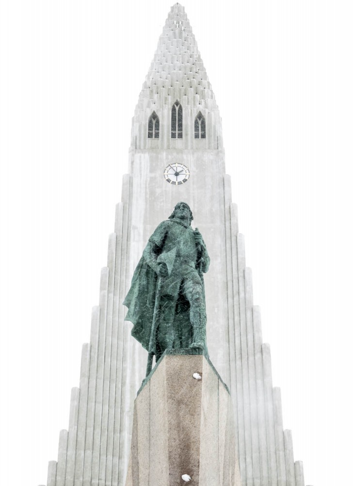 A statue of the Norse explorer Leif Ericson, who is said to have discovered North America 500 years before columbus. The statue was a gift of the United States in 1930 and stands in front of the church