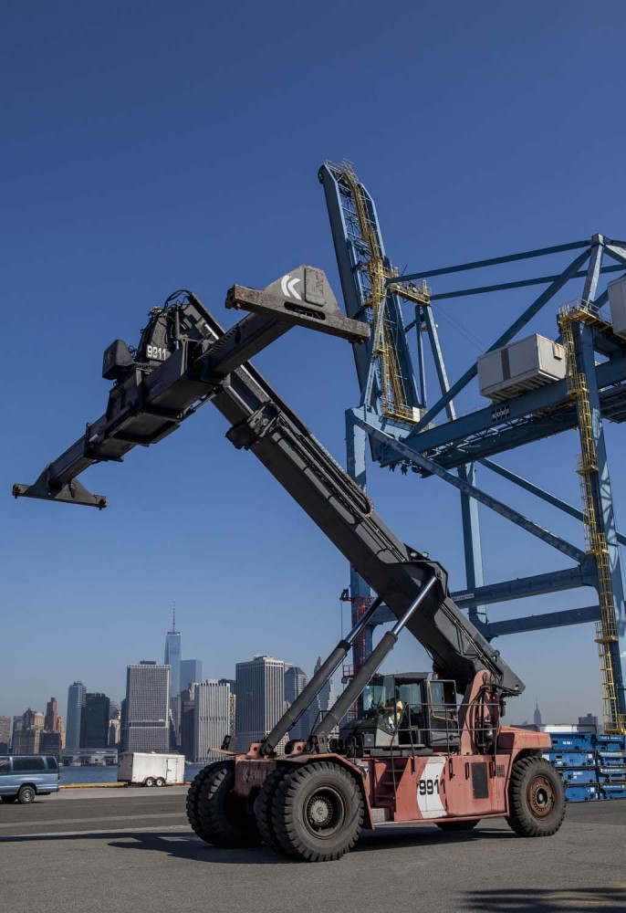 A reach stacker used to move shipping containers